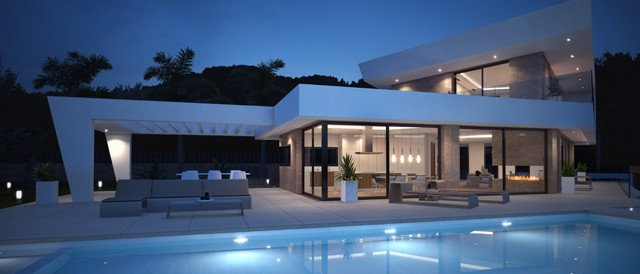 Contemporary Villa at night
